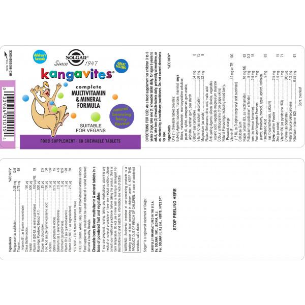 Solgar: Kangavites multivitamin for barn (60 kapsler) / Laget spesielt for barn (og deres foreldre) Designet for å støtte barn i vekst og deres immunitet Tilfører et bredt spekter av essensielle vitaminer og mineraler kombinert med naturlige og matbaserte ingredienser Tyggetablett med velsmakende, naturlig smak av bær eller tropisk frukt Vegansk, Vegetarisk