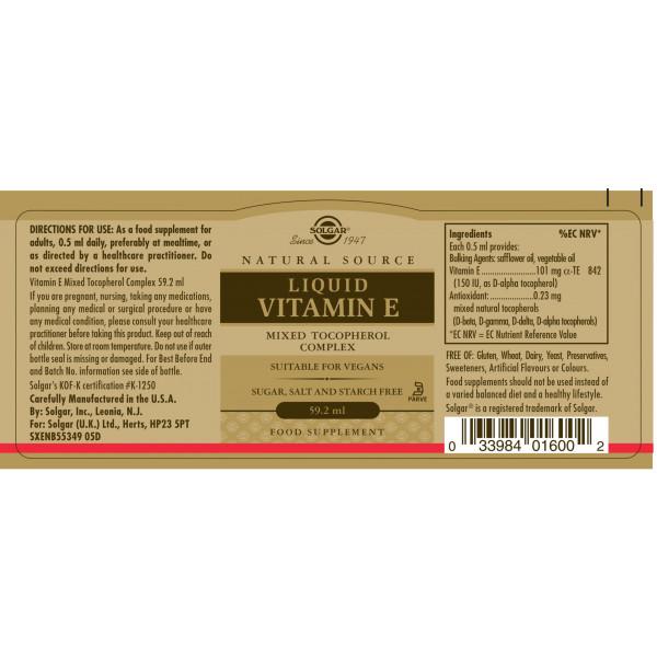 Solgar: Flytende vitamin E (59 ml) / Beskytter cellene mot oksidativt stress Støtter immunforsvaret Naturlig vitamin E (d-alfa-tokoferol) Enkel dosering i flytende form Inkluderer et blandet tokoferolkompleks
