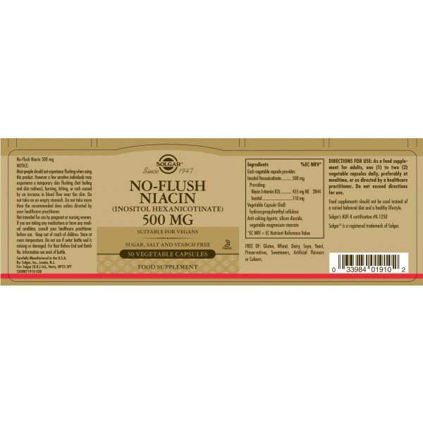 Solgar: Niacin 500 mg (50 kapsler) / Kilde til Vitamin B3 (Niacin) Støtter kroppens energinivåer Reduserer tretthet og utmattelse Godt for huden Vegansk, Vegetarisk, Kosher