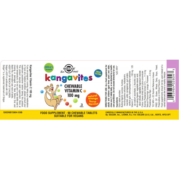 Solgar: Kangavites vitamin C 100 mg (90 kapsler) / Spesielt utviklet for barn Støtter et sunt og godt immunforsvar Reduserer tretthet og utmattelse For friske ben og tenner C-Vitamin i tyggetabletter med naturlig appelsinsmak