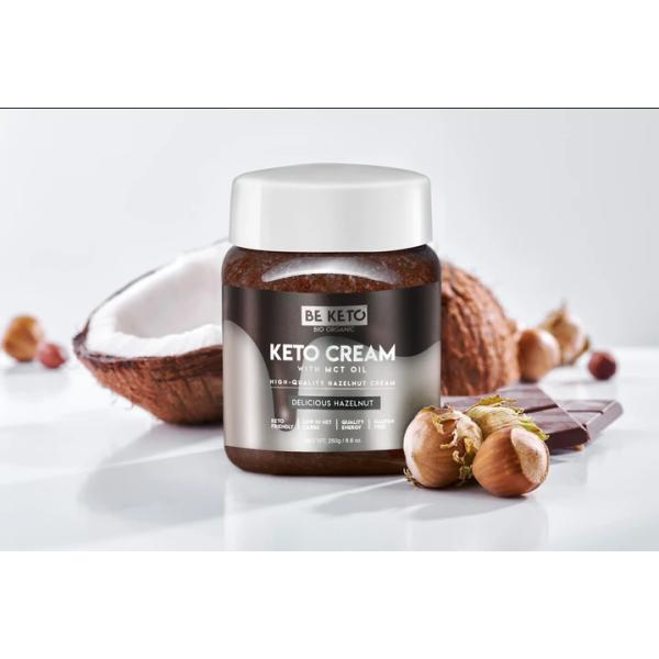 Be Keto: Keto Cream m/MCT-olje, hasselnøtt (250 g) / Inneholder bare 2 gram netto karbohydrater per 100 gram, og 48 gram sunt fett! Keto Cream™ ️ er helt sukkerfri.