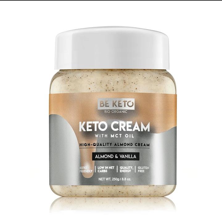 Be Keto: Keto cream m/MCT-olje, mandel og vanilje (250 g) / Inneholder bare 1,2 gram karbo per 100 gram og 51 gram sunt fett!Keto Cream ™ ️ er helt sukkerfri.