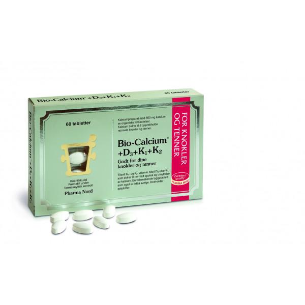Pharma Nord: Bio-Calcium+D3+K1+K2 (60 kapsler) / Tablettene har peppermyntesmak og kan tygges Bidrar til vedlikehold av normale knokler og tenner Inneholder D3vitamin, som bidrar til et normalt kalsiuminnhold i blodet Kan med fordel kombineres med Bio-Magnesium Fremstilt under farmasøytisk kontroll Vitenskapelig dokumentert