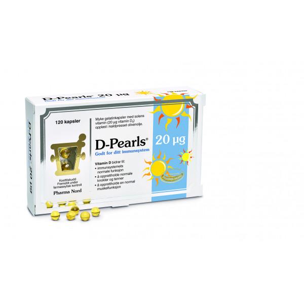 Pharma Nord: D-Pearls 20 µg (120 kapsler) / Små perler med 20 µg vitamin D (vitamin D3) Oppløst i kaldpresset olivenolje som sikrer god absorpsjon da vitamin D er et fettløselig vitamin Vitamin D er viktig for opptaket av kalsium Understøtter normal celledeling Fremstilt under farmasøytisk kontroll