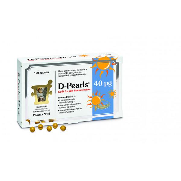 Pharma Nord: D-Pearls 40 µg (120 kapsler) / Små perler med 40 µg vitamin D 3 Oppløst i kaldpresset olivenolje (sikrer godt opptak da vitamin D er fettløselig) Bidrar til immunforsvarets normale funksjon Bidrar til å opprettholde normale knokler, tenner og normal funksjon av muskler Vitamin D bidrar til normalt opptak og utnyttelse av kalsium Vitenskapelig dokumentert opptak Fremstilt under farmasøytisk kontroll