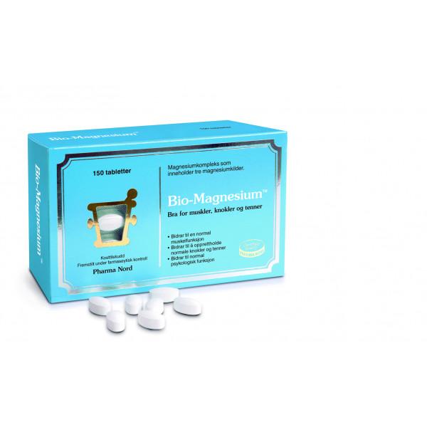 Pharma Nord: Bio-Magnesium (60 eller 150 kapsler) / Bio-Magnesium inneholder tre forskjellige magnesiumsalter i en rask oppløselig matrix Bidrar til å opprettholde normale knokler og tenner Bidrar til nervesystemets normale funksjon og normal muskelfunksjon Bidrar til en normal elektrolyttbalanse Fremstilt under farmasøytisk kontroll