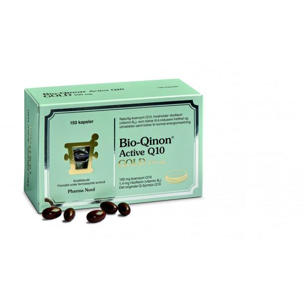 Pharma Nord: Bio-Qinon Active Q10 Gold 100 mg (60 og 150 kapsler) / Unik formel med godt dokumentert opptak Råvaren som brukes er identisk med Q10-formen som dannes i kroppen Dokumentert i mer enn 150 vitenskapelige studier Referanseprodukt i forskning for Internationalt Coenzyme Q10 Association (ICQA) Med riboflavin (vitamin B2) som bidrar til å redusere tretthet og utmattelse Fremstillt under farmasøytisk kontroll