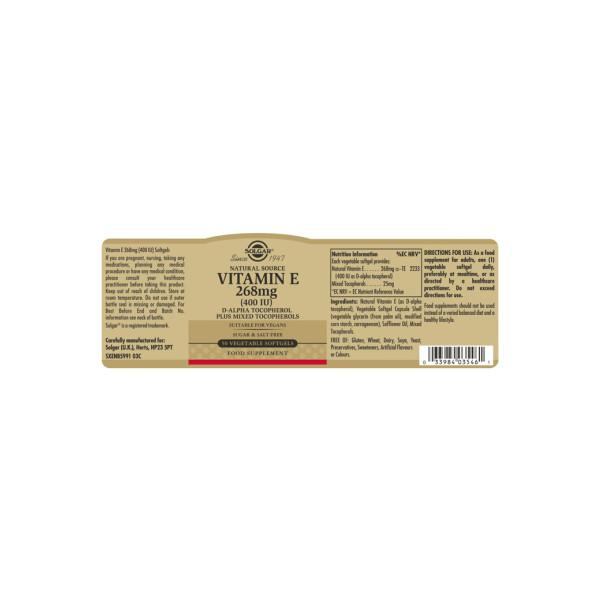 Solgar: Vitamin E 268 mg (50 kapsler) / Naturlig vitamin E (d-alfa-tokoferol) Beskytter cellene mot oksidativt stress Støtter immunforsvaret Vegetabilske, myke kapsler Vegansk, vegetarisk