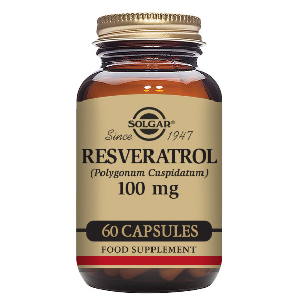 Solgar: Resveratrol 100 mg (60 kapsler) / Kjent som en populær skjønnhets-ingrediens Godt for hjertet Naturlig kildet fra Japansk Parkslirekne