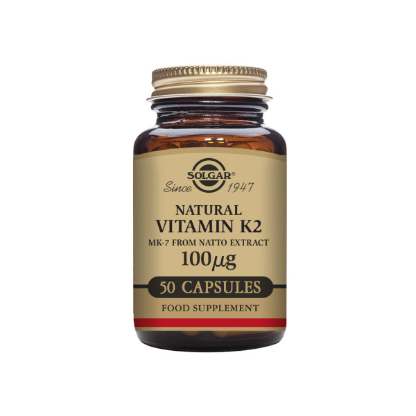 Solgar: Vitamin K2 Natto 100 µg (50 kapsler) / Nødvendig for optimal distribusjon av kalsium til skjelettet Motvirker blodpropper og forkalkninger i blodårene Unik, patentert form av vitamin K (menakinon-7) Samme vitamin som lages av en sunn tarmflora Signifikant mer bioaktivt en K1