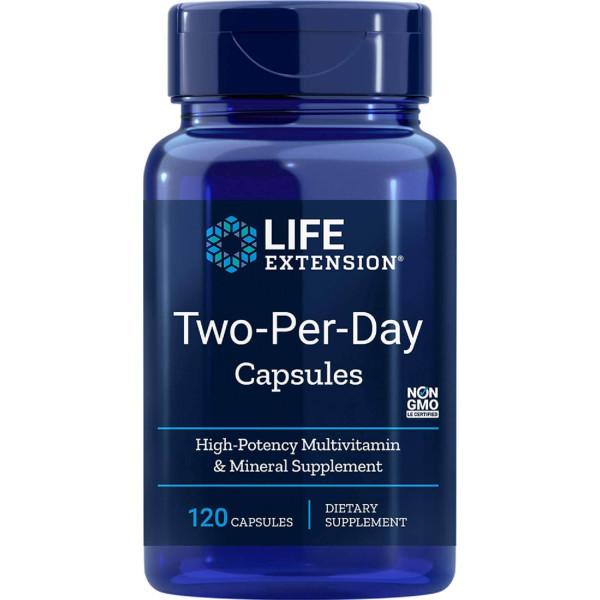 Life Extension: Multivitamin-/mineraler, to om dagen (120 kapsler) / Mange tar multivitaminer/-mineraler, men innholdet av de enkelte næringsstoffene er vanligvis så lite at det ikke gir noen helsefordeler.
