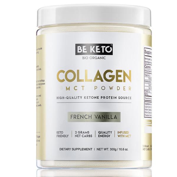 Be Keto: Kollagen + MCT, vanilje eller sjokolade (300 g) / Kollagen forbedrer hudens generelle helse ved å redusere tegn på aldring, rynker og samtidig forbedre hudens elastisitet og fuktighet. Kollagen og MCT sammen gir en energiforsterkende og sultdempende blanding for å ta ketosen din til neste nivå!