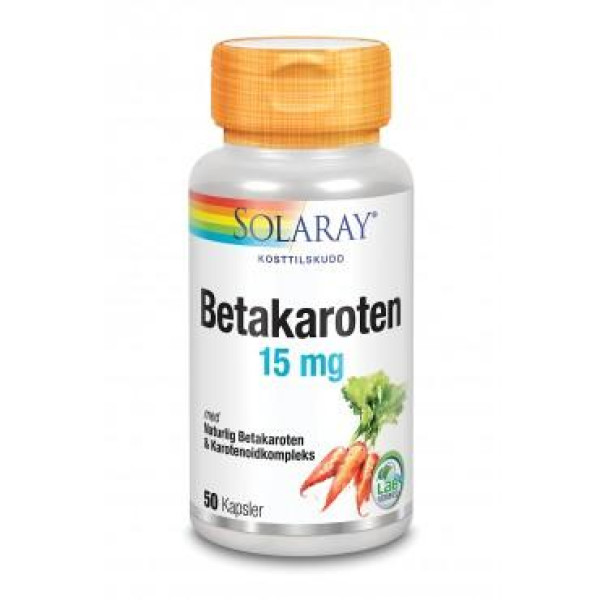 Solaray: Betakaroten kompleks 15 mg (50 kapsler) / Inneholder naturlig betakaroten fra algenDunaliella salinaog karotenoidkompleks fra annatto-olje, gulrot, sitrongress, spirulina og yamsrot, i en base av olivenolje for godt opptak.Karotenoider er fargestoffer som finnes i grønne, gule, oransje og røde plantedeler. Det er i dag påvist over 300 karotenoider, hvorav betakaroten er det mest kjente og virksomme av karotenoidene.Betakaroten er et pro-vitamin, det vil si det kan omdannes til vitamin A som er et essensielt næringsstoff.