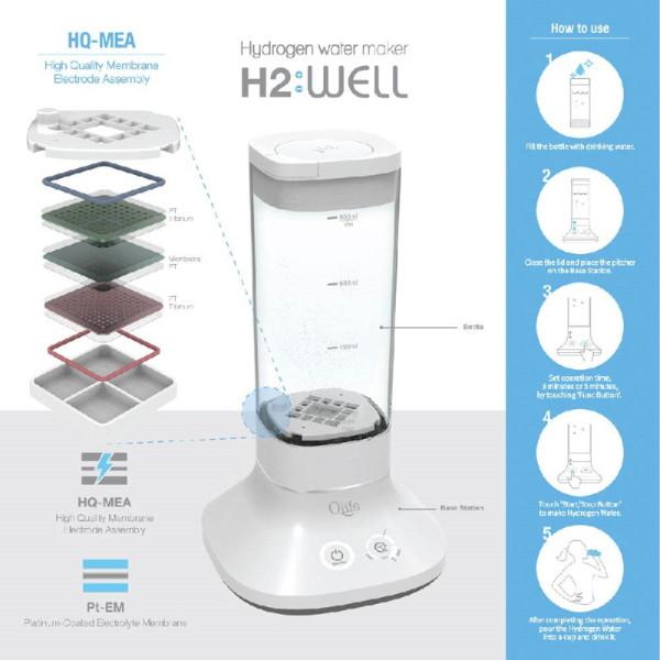 Qlife: H2 Well - hydrogenvanngenerator / Et enkelt trykk på en knapp er nok, og etter få minutter kan man innta høykvalitets molekylært hydrogenvann.