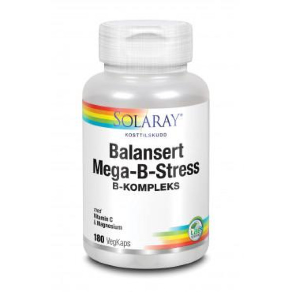 Solaray: Mega-B-Stress (90 og 180 kaplser) / B-vitamin kompleks med folsyre, vitamin C og magnesium. Viktig for hud, hår, negler, nervesystemet og stoffskiftet Balansert kompleks av alle B-vitaminene i en base av naturris og urter Anti-stress formula med C-vitamin og magnesium. Inneholder folsyre Vegetabilske kapsler Gjærfri