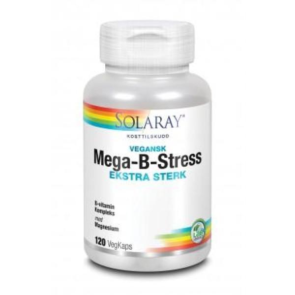 Solaray: Mega-B-Stress - Ekstra sterk (120 kapsler) / Ekstra sterkt B-kompleks med alle B-vitaminene. God ved tretthet og utmattelse Bidrar til kroppens energiomsetning Støtter produksjonen av røde blodceller God for nervesystemet Beskytter cellene mot oksidativt stress ved fysisk-/psykisk påkjenning Kan hjelpe ved ømme og stive muskler Styrker hud, hår og negler Omsetning av homocystein Styrker immunforsvaret Regulerer hormonell aktivitet og balanse Vegansk
