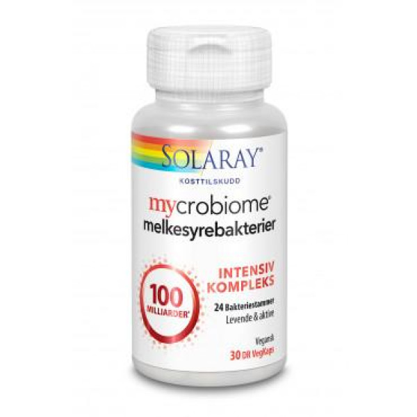 Solaray: Mycrobiome® intensiv (30 kapsler) / Solaray Mycrobiome® Intensiv inneholder intensivkompleks som består av 24 spesielt utvalgte bakteriestammer, med hele 100 milliarder* levende & aktive melkesyrebakterier per kapsel. Den vegetabilske DR-kapselen (Delayed Release) er ekstra motstandsdyktig for magesyre og bruker lengre tid på å løse seg opp i magen, dermed får melkesyrebakteriene en forsinket frigjøring i fordøyelsessystemet. *100 milliarder (100x109) CFU. CFU = antall bakterier