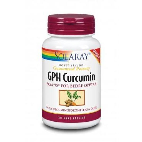 Solaray: GPH Curcumin (30 kapsler) / Ekstrakt med curcuminoider og eteriske oljer fra gurkemeie. Lindrende ved ømme og stive ledd Svakt smertestillende Antioksidant som kan beskytte cellene mot oksidativt stress Kan hjelpe på fordøyelsen