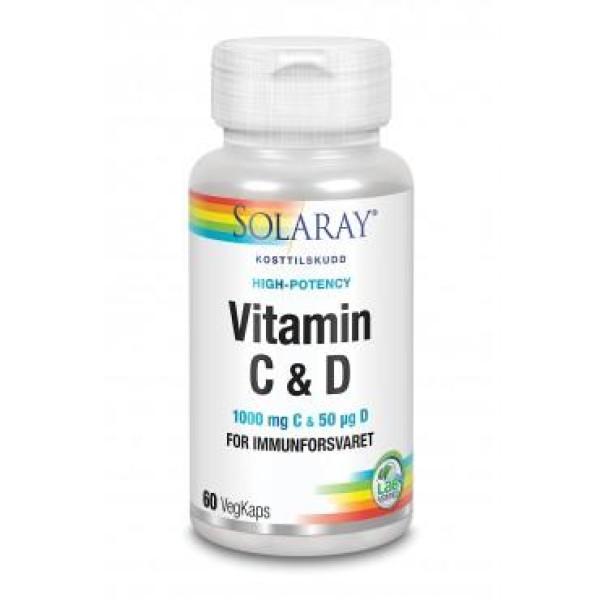 Solaray: Vitamin C & D / Vitamin C og D bidrar til at immunforsvaret fungerer normalt. Vitamin C opprettholder normal energiomsetning og reduserer tretthet og utmattelse. Vitamin C bidrar til normal kollagendannelse som har betydning for hudens normale funksjon. Vitamin D spiller en rolle i normal oppbygging av skjelettet. 1000 mg vitamin C & 50μg vitamin D3 Styrker immunforsvaret For energi og overskudd Kollagendannelse og sunn hud For normal oppbygging av skjelettet