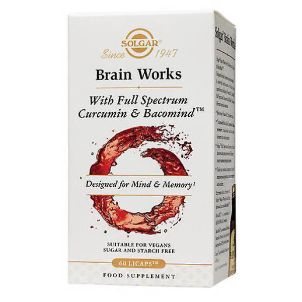 Solgar: Brain Works (60 kapsler) / Memory & focus problems can happen to many of us. Mental wellbeing is one of many important indicators of good health especially supporting healthy brain function.