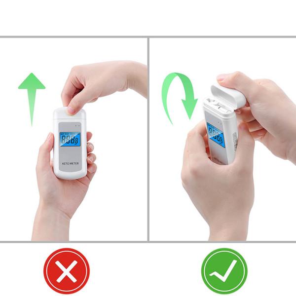 Elektronisk ketonmåler – finner ketoner i pusten / Endelig en enkel måte å måle om du er i ketose eller ikke! Måleren har en liten skjerm som viser acetonkonsentrasjonen i pusten i ppm (deler per million) fra 0 til 99, så du vet nøyaktig hvor du befinner deg på ketoseskalaen.